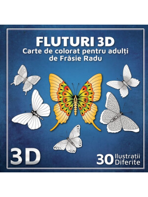 3D Butterflies - Coloring Book Adult Coloring Book