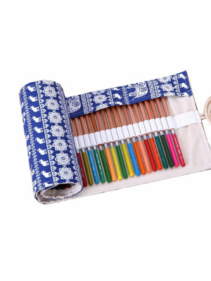 Pencils Roll Up Case - Elephants
