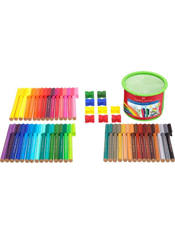 Connector felt tip pen set Mesh tins, 55 pieces Faber-Castell