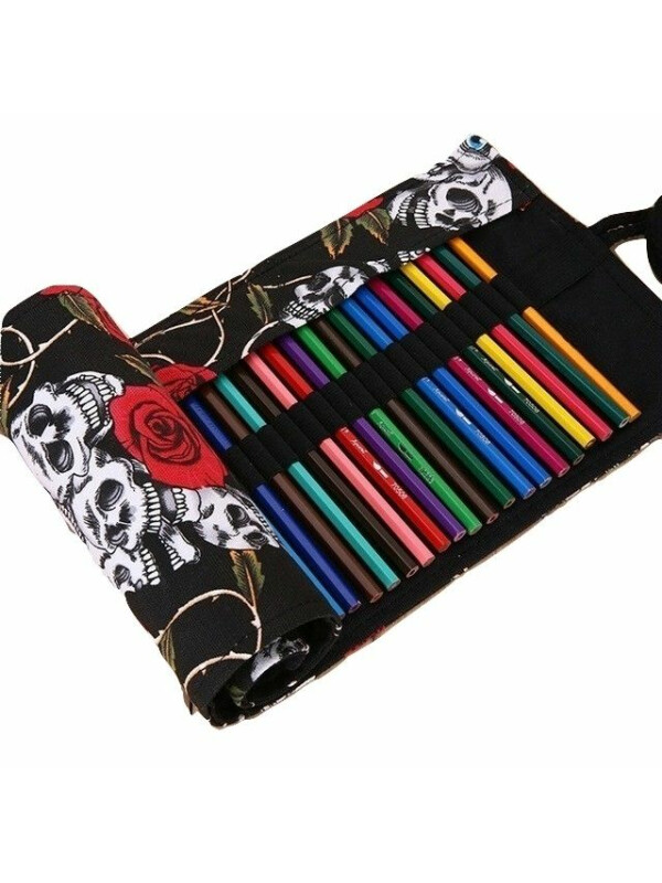 Pencils Roll Up Case - Skulls and Roses - black lining