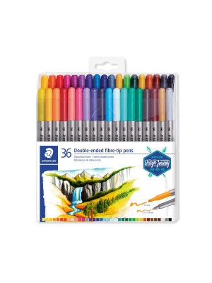 Staedtler Fiber Tip Coloring Pens Double-ended Twin-tipped - Pack 72