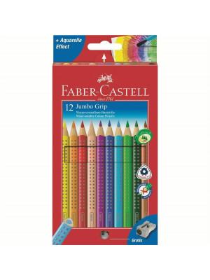 Creioane Colorate 12 Culori + Ascutitoare Jumbo Grip Faber-Castell