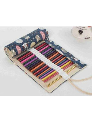 Pencils Roll Up Case - Owls