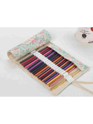 Pencils Roll Up Case - Flowers