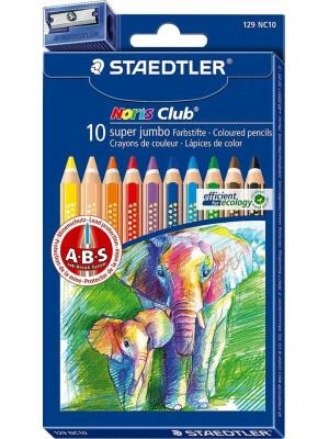 Set 10 creioane color Noris Super Jumbo + ascutitoare