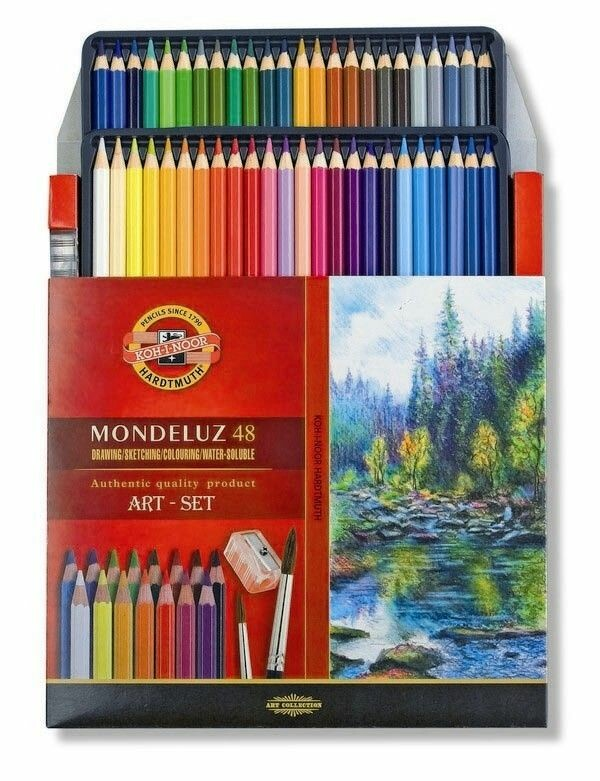 KOH-I-NOOR Aquarell MONDELUZ pencils set with brushes and sharpener