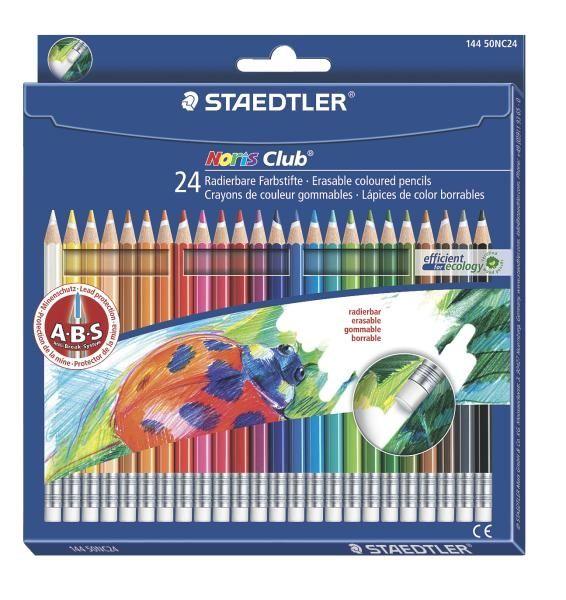 24 x Staedtler Wopex Noris Colouring Pencils Hexagonal Shape Assorted Colours